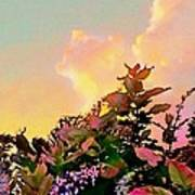Yellow Sunrise And Flowers - Vertical Art Print