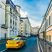 Yellow Taxi Of Moscow Art Print