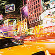 Yellow Taxi On The Road, Times Square Art Print
