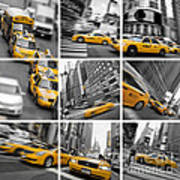 Yellow Taxis Collage Art Print