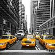 Yellow Taxis In New York City - Usa Art Print