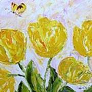 Yellow Tulips And Butterfly Art Print