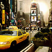 Yelow Cab At Time Square New York Art Print by Yvon van der Wijk