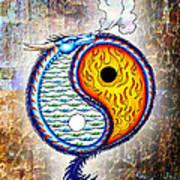 Yin And Yang Textured Art Print