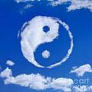 Yin-yang Symbol Made Of Clouds Art Print