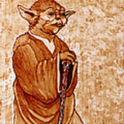 Yoda Wisdom Original Coffee Painting Art Print