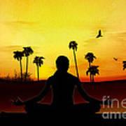 Yoga At Sunrise Art Print by Bedros Awak