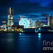 Yokohama Minatomirai At Night Art Print
