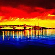 Yorktown Bridge Sunset Print by Bill Cannon
