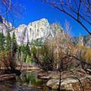 Yosemite Falls Along The Merced River Art Print