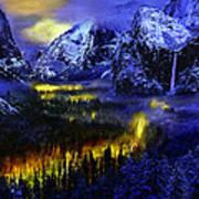 Yosemite Valley At Night Art Print