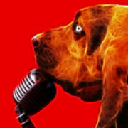 You Ain't Nothing But A Hound Dog - Red - Electric Art Print by Wingsdomain Art and Photography