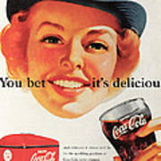 You Bet It's Delicious - Coca Cola Art Print by Georgia Fowler