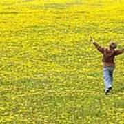 Young Boy Running Through Field Of Art Print