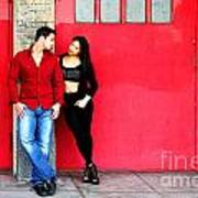 Young Couple Red Doors Art Print