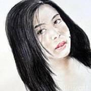 Young Filipina Beauty With A Mole On Her Cheek Model Kaye Anne Toribio Art Print