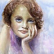 Young Girl Child Watercolor Portrait  Art Print by Svetlana Novikova