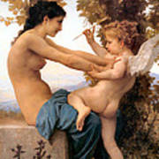 Young Girl Defending Herself Against Cupid Art Print