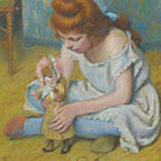 Young Girl Playing With A Doll Art Print
