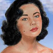 Young Liz Taylor Portrait Remake Version II Art Print