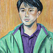 Young Man In A Green Jacket Art Print