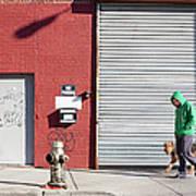 Young Man Walks Dog Art Print