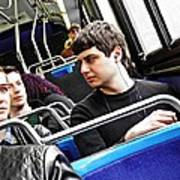 Young Men On The M4 Bus Art Print