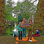 Young Musicians On Orange Day By A Canal In Enkhuizen-netherland Art Print