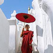 Young Novice Monk Walking On White Pagoda - Myanmar Art Print