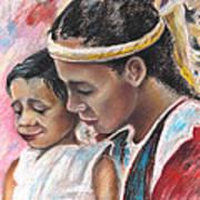 Young Polynesian Mama With Child Art Print