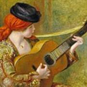 Young Spanish Woman With A Guitar Art Print by Pierre Auguste Renoir
