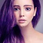 Young Woman Anime Style Beauty Portrait With Large Eyes And Purp Art Print