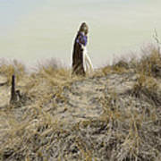 Young Woman In Cloak On A Hill Art Print