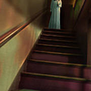 Young Woman In Nightgown On Stairs Art Print by Jill Battaglia