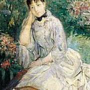 Young Woman Seated On A Sofa Art Print by Berthe Morisot
