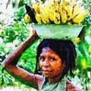 Young Woman With Bananas Art Print