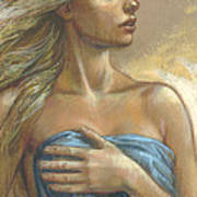 Young Woman With Blue Drape Crop Art Print