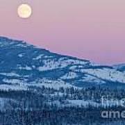 Yukon Canada Winter Landscape And Full Moon Rising Art Print