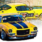 Yellow Z28 Camaro Art Print