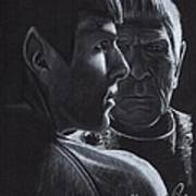 Zachary Quinto And Leonard Nimoy Art Print by Rosalinda Markle