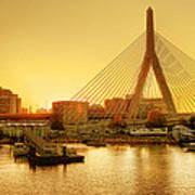 Zakim Bridge Sunset Art Print