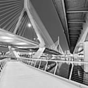 Zakim Bridge Twilight In Boston Bw Art Print