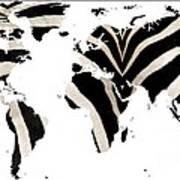 Zebra Fur World Map Art Print