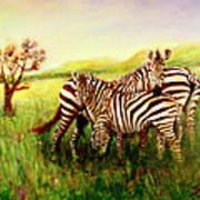 Zebras At Ngorongoro Crater Art Print