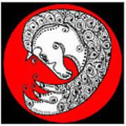 Zen Horse White Art Print