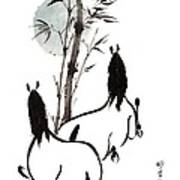Zen Horses Moon Reverence Art Print