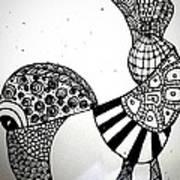 Zentangle Bird Art Print