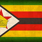 Zimbabwe Flag Distressed Vintage Finish Art Print by Design Turnpike