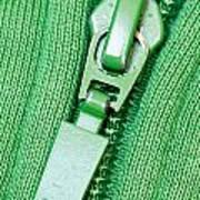 Zipper Of A Green Sweater Art Print