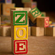 Zoe - Alphabet Blocks Art Print